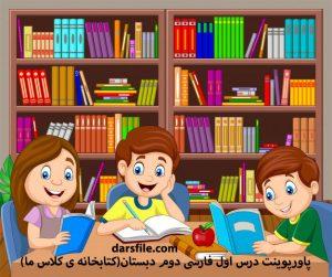 پاورپوینت درس اول فارسی دوم دبستان(کتابخانه ی کلاس ما)